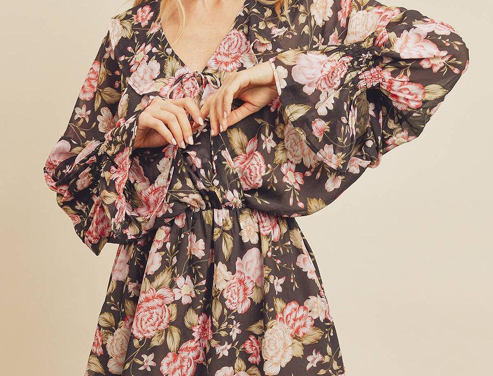 Rose V-Ruffle Dress