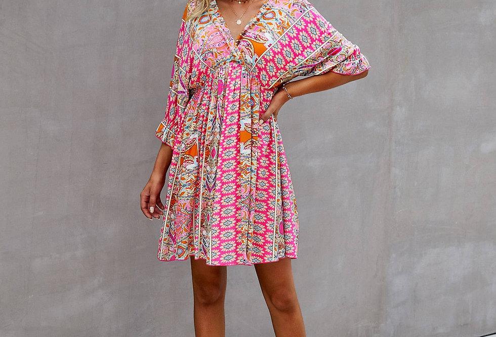 Paisley Pink Print Dress
