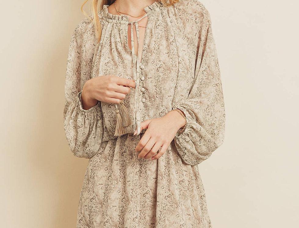 Button Front Ruffled Dress