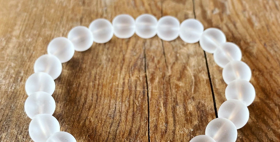 Frosted Quartz Crystal Stretch Bracelet