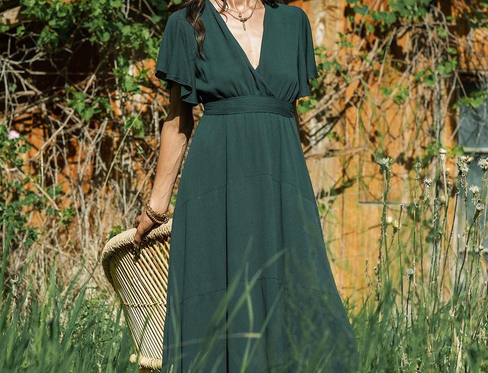Long Flowy Dress with Wrap Tie