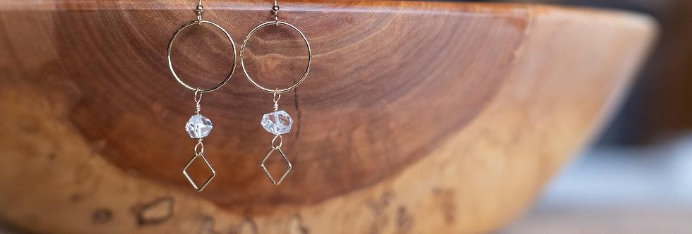 Herkimer Diamond & 14K Gold Filled Drop Earrings