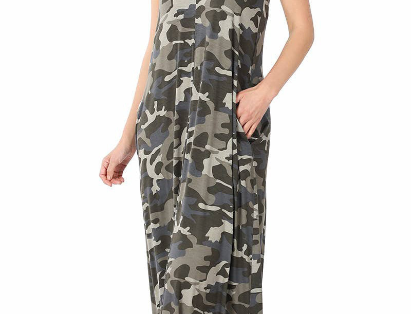 Camouflage Cami Maxi Dress with Pockets