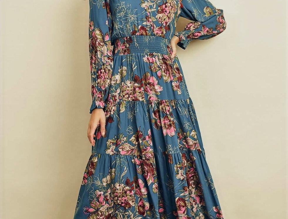 Joy Floral Surplice Tiered Dress