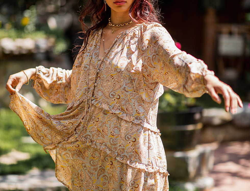 Vintage Paisley Tiered Babydoll Swing Dress