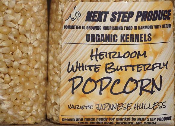 Organic Heirloom White Butterfly Popcorn 1.25 lbs