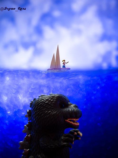 Godzilla traveling by Sea