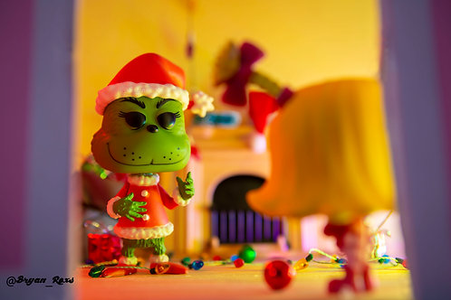 The Grinch confronted by Cindy Lou