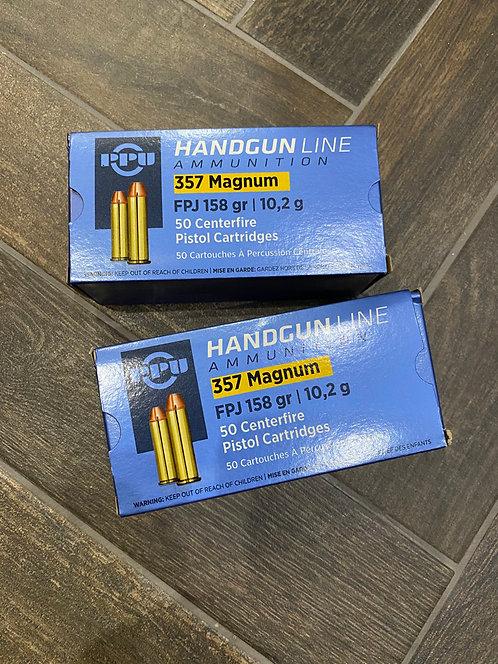 357 Magnum PPU 158gr FPJ Ammunition (50)