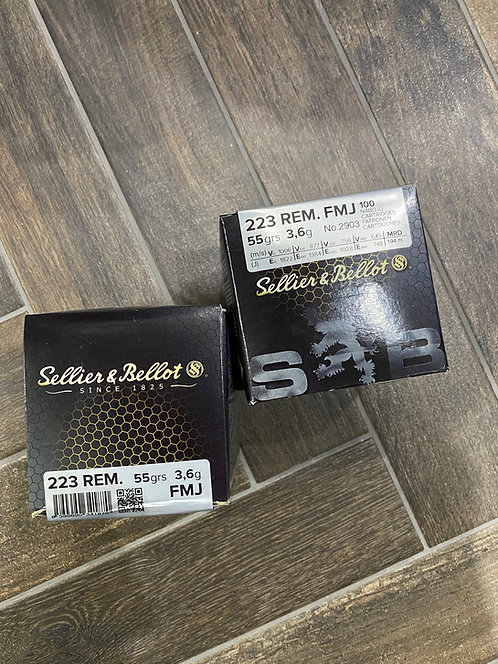 .223 Sellier and Bellot FMJ 55gr Ammunition (100)
