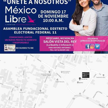 MÉXICO LIBRE REALIZARÁ ASAMBLEA DE AFILIACIÓN EN PÁTZCUARO