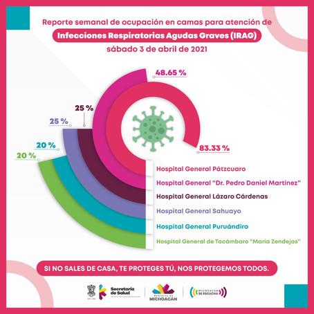 Hospital General de Pátzcuaro reporta ocupación COVID-19 al 83.33%