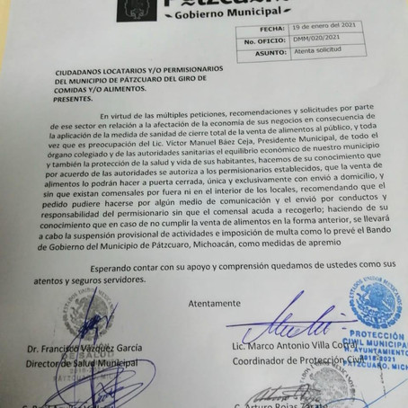 AYUNTAMIENTO DE PÁTZCUARO AUTORIZA VENTA DE ALIMENTOS EL DOMINGO SOLO A DOMICILIO