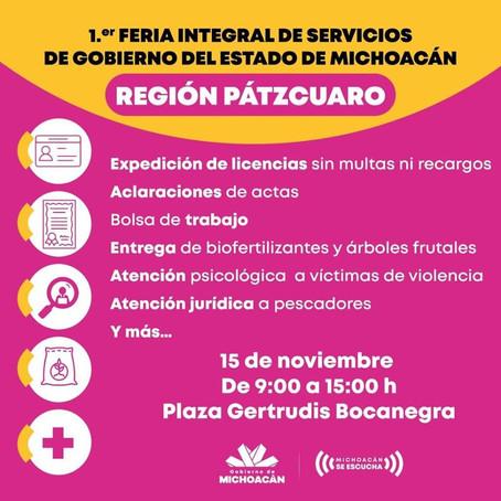 ANUNCIAN LA PRIMERA FERIA INTEGRAL DE SERVICIOS DEL GOBIERNO DEL ESTADO EN PÁTZCUARO
