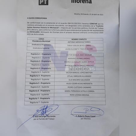 ESTA SERÁ LA PLANILLA QUE ACOMPAÑARÁ A TOÑO MENDOZA RUMBO A LA PRESIDENCIA DE PÁTZCUARO