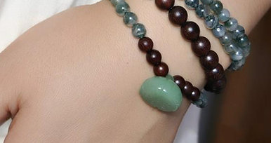 Crystal Jade Wood 108 Bracelet