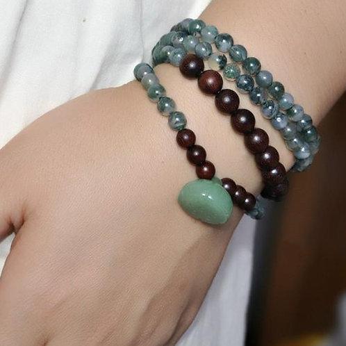 Crystal Jade Wood 108 Bracelet