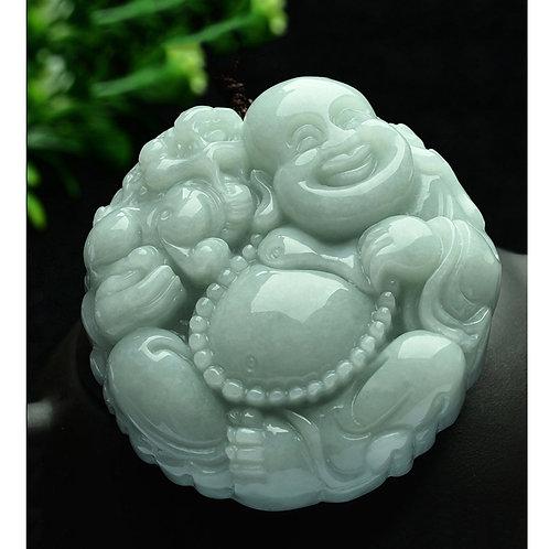 Green Jade  Laughing Buddha