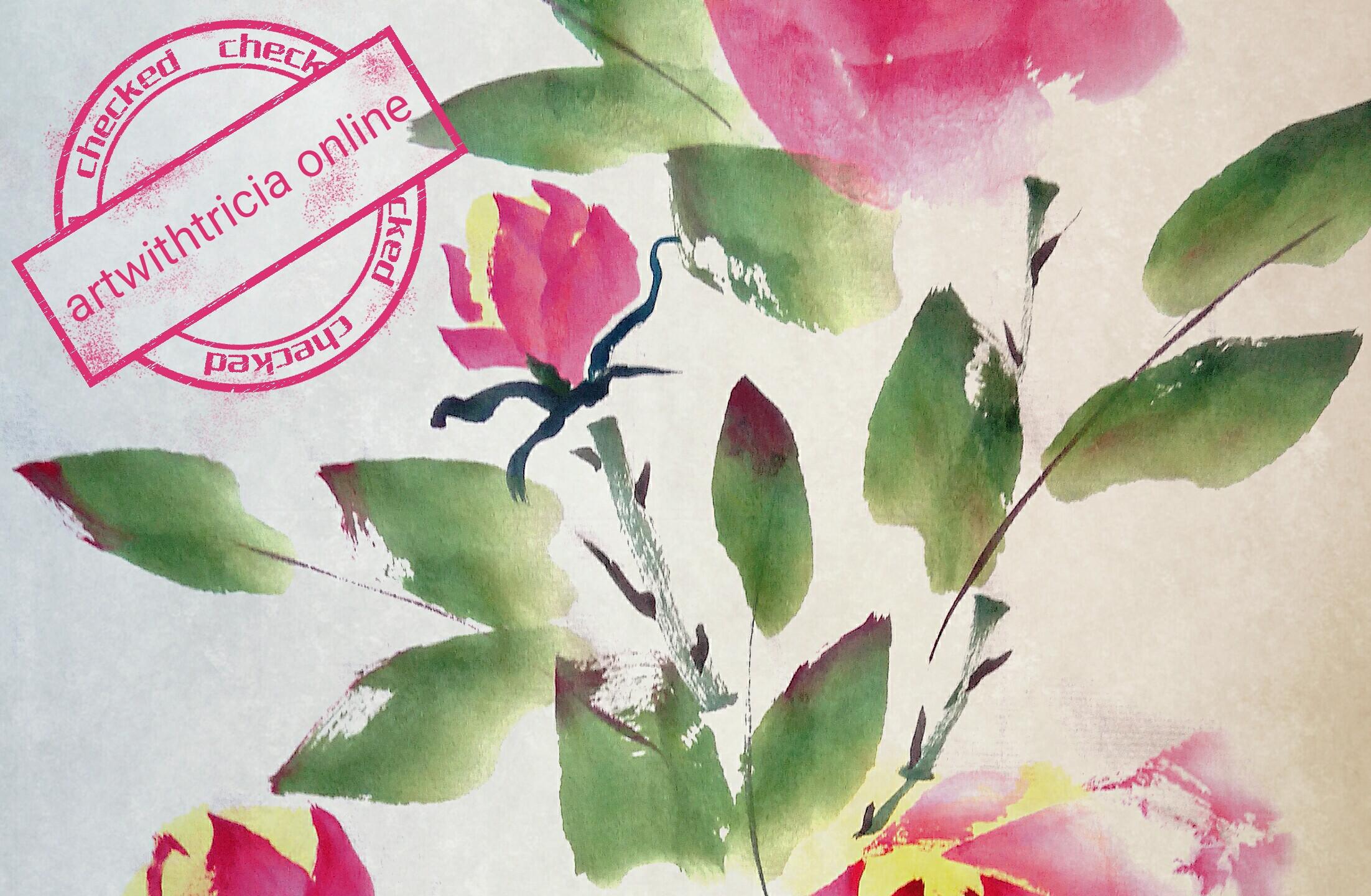 Chinese Brush Painting Roses