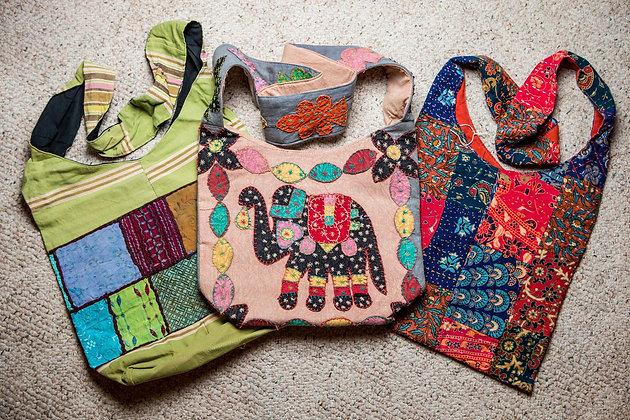 Multi Colored Fabric Shoulder Bag