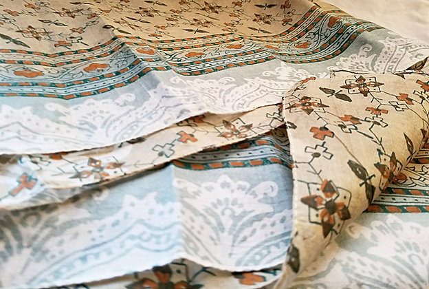 Silk Scarf - Light Green and Rust Floral