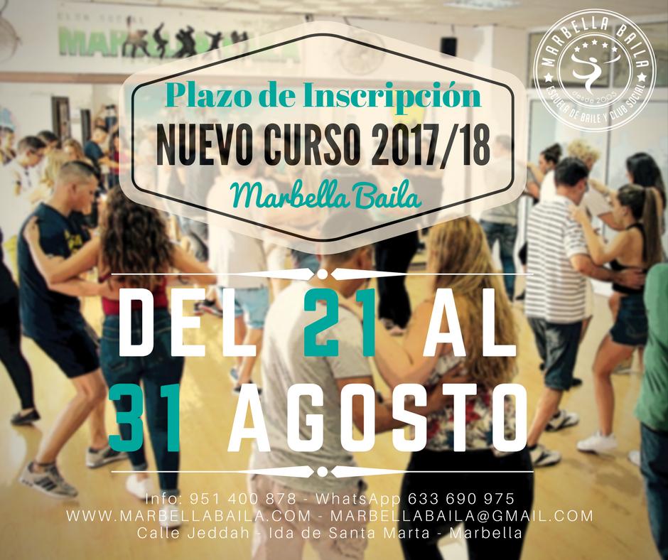 plazo de inscripción nuevo curso 2017/18 Marbella Baila