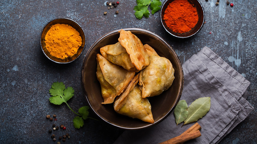 Indian samosas - friedbaked pastry with