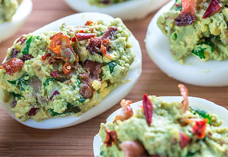 Guacamole Bacon Deviled Eggs