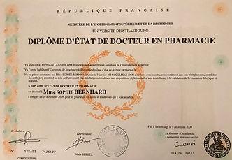 diplôme pharmacien Dr Sophie Marchais