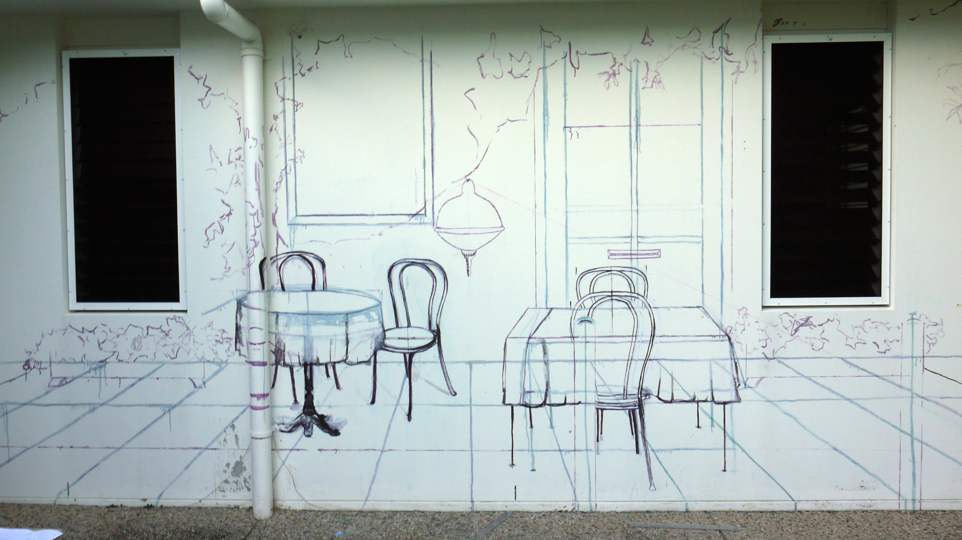 drawing to scale on the wall