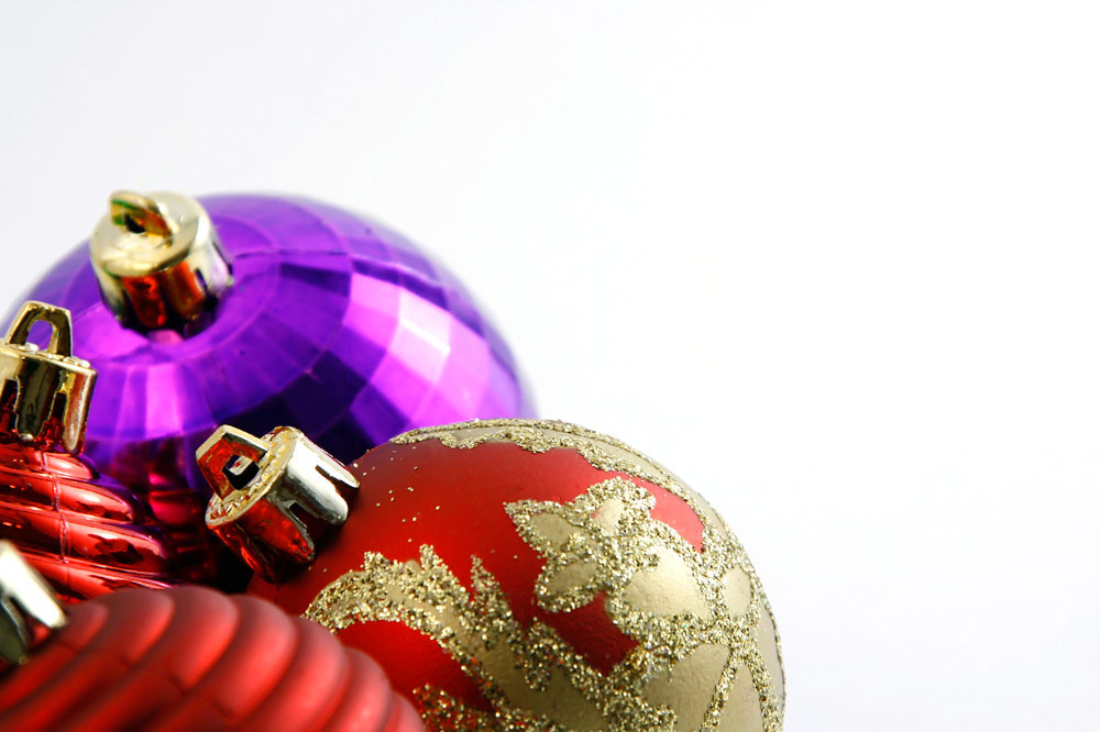 OLWH - Deck the Halls: red, gold and purple ball ornaments