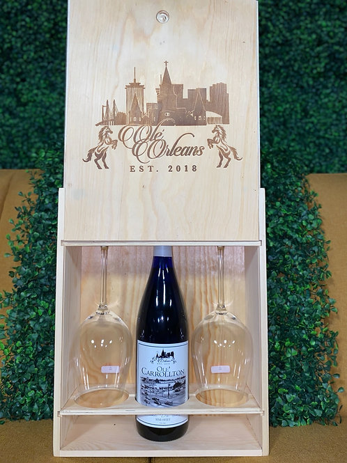 Olé Orleans Wood Wine Gift Box