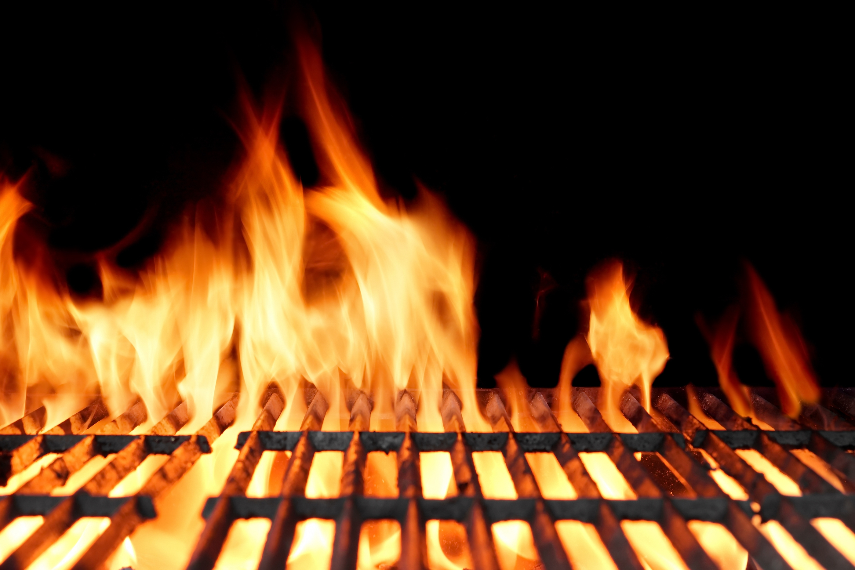 Hot Empty Charcoal Bbq Grill With Bright Flames