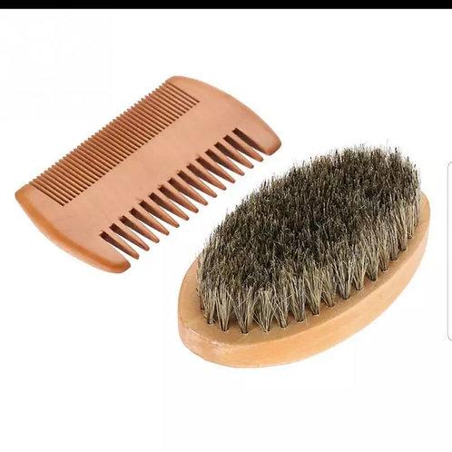 Men's  beard & mustache oval brush and comb wood set