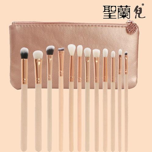 Shenglanr Earth Tone Makeup Brush Set (12pieces+1bag)