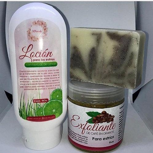 KIT PARA ESTRÍAS ( jabón, crema y exfoliante )