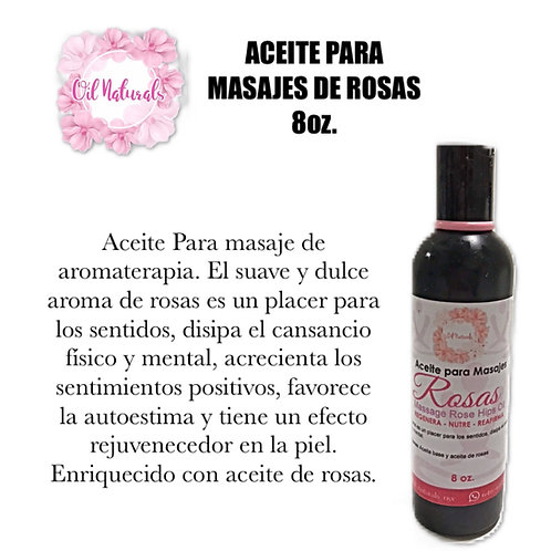 ACEITE PARA MASAJES DE ROSAS 8oz.