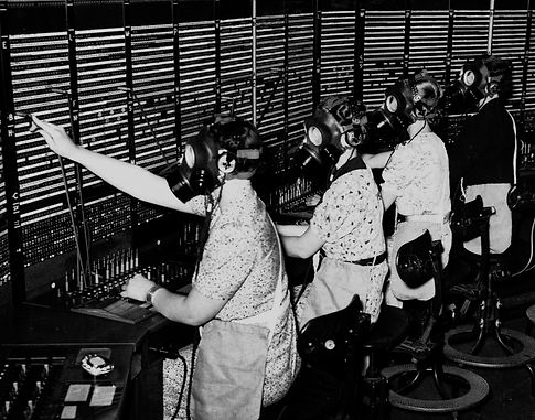 Gas mask training for switchboard operat