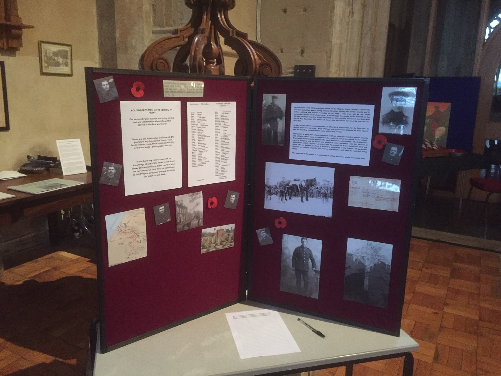 Southrepps Boys Memorial Display