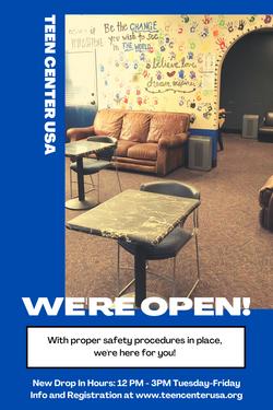 New Teen Center Drop In Hours!