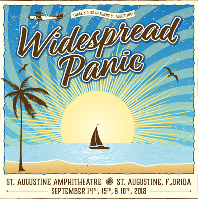 Announcement graphic for Widespread Panic in St. Augustine, 2018