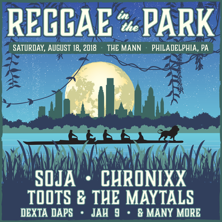 Announcement graphic for Reggae in the Park featuring SOJA, Chronixx, Toots & The Maytals and others, 2018