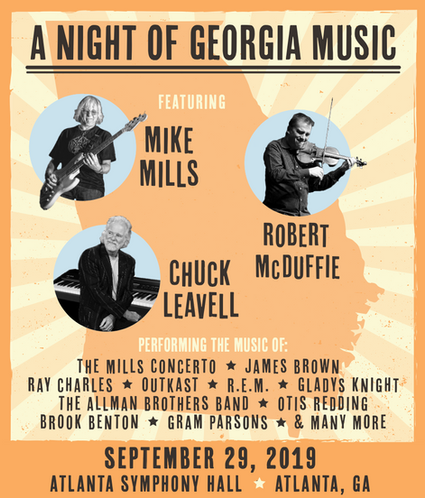 Announcement graphic for Mike Mills (R.E.M.), Chuck Leavell (Allman Brothers Band) and Robert McDuffie, 2019