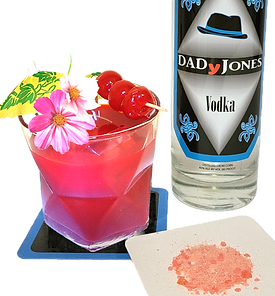cocktail called flavor red with bottle of DADyJones vodka and popping rocks