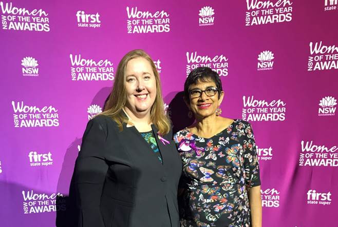 Ms Aitchison with 2017 Maitland Local Woman of the Year Award Winner, Amorelle Dempster at the 2017 Awards in Sydney