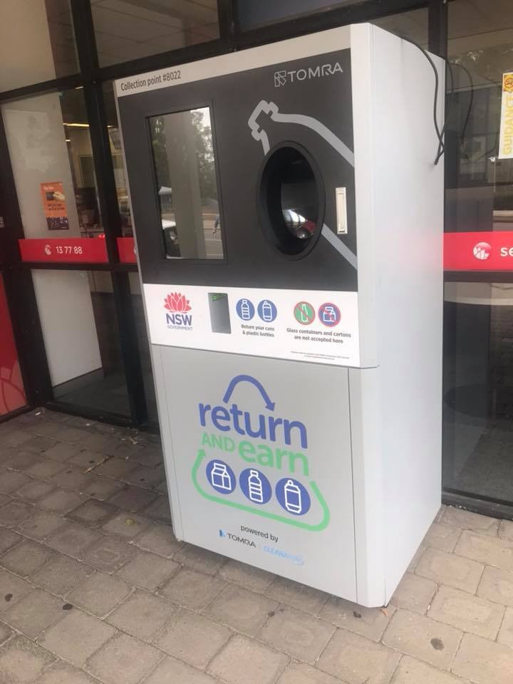 "the ""secret"" reverse vending machine outside Service NSW Green Hills, unplugged and unuseable"