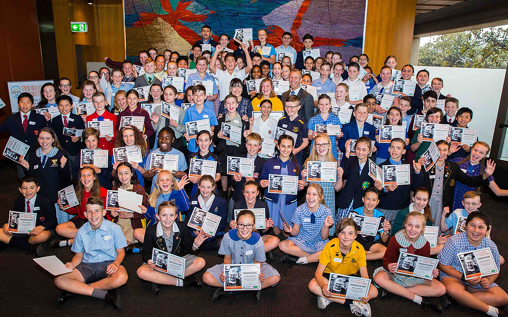 2017 Award recipients including Maitland students Genevieve Blair and Ashton Griffiths - image courtesy of Fred Hollows Foundation