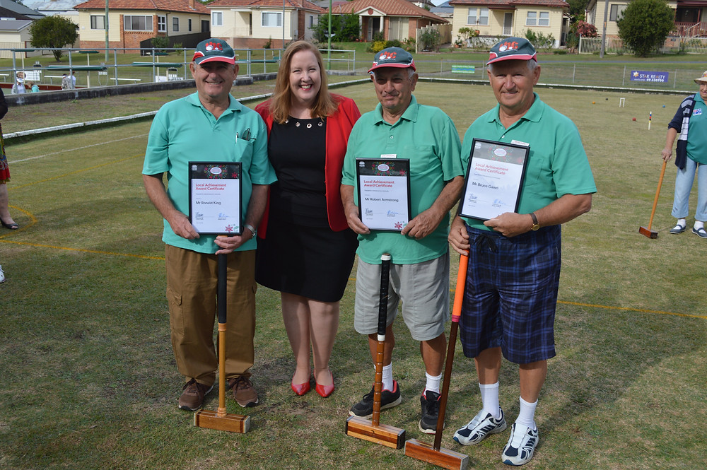 Image - left to right: Ron King, Jenny Aitchison MP, Robert Armstrong and Bruce Gawn