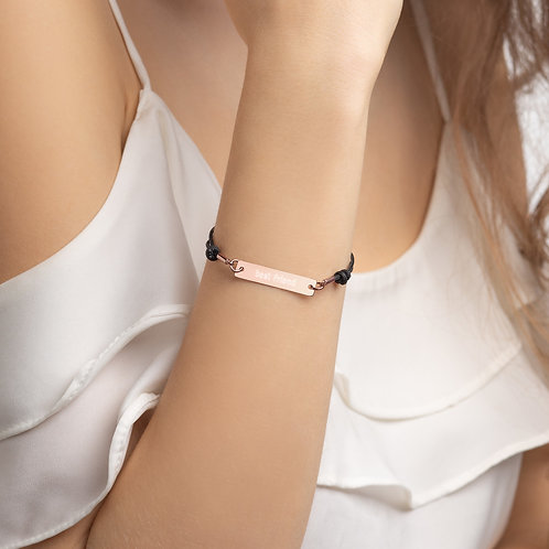Best Friend Engraved Silver Bar String Bracelet
