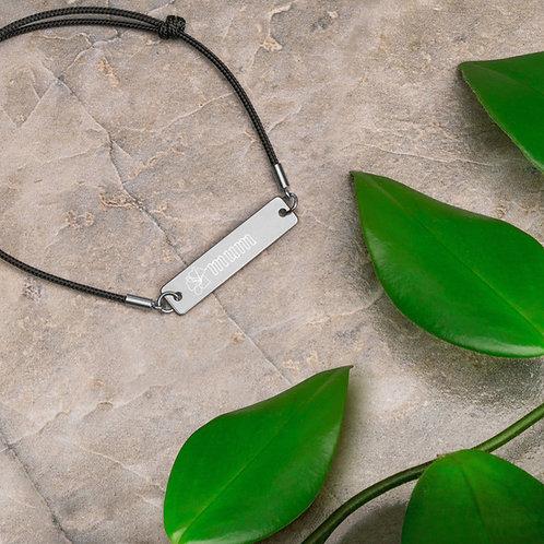 MUM Engraved Silver Bar String Bracelet